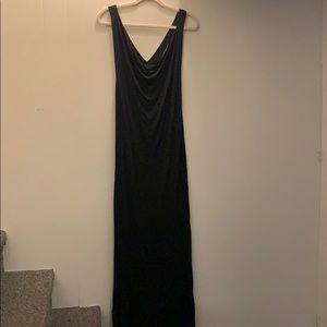 Long black maxi dress Y shaped low back